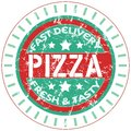 Pizza service stamp, Royalty Free Stock Photo