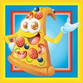 Pizza slice cartoon character smiling Royalty Free Stock Photos