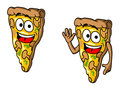 Pizza slice in cartoon style for fast food design Stock Photos