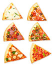 Pizza slice with different toppings isolated on white background Stock Photography