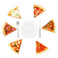 Pizza slice with different toppings and plate fork and knife isolated on white background Stock Photo