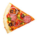 Pizza slice isolated on white background Royalty Free Stock Images