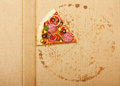 Pizza slice salami over box Royalty Free Stock Photos