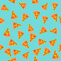 Pizza slice seamless pattern. Vector background. Fast food.