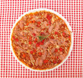 Pizza on table with fork and knife full frame Royalty Free Stock Photography