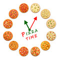 Pizza time. Clock from italian food. Royalty Free Stock Photo