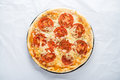 Pizza with tomato, cheese and dry basil on white background top view Royalty Free Stock Photo