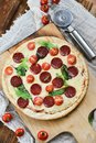 Tasty Pizza With Tomato Sauce, Pepperoni Sausage, And Mushrooms On Wooden Background Natural Rustic, A Pizza Cutter And Ingridient Royalty Free Stock Photo