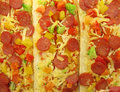 Pizza topped bruschetta baguette sandwiches Royalty Free Stock Photography