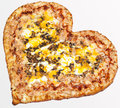 Pizza valentine s day fast food delicious food apetitnye view tomato meat mayonnaise dough for menu sausage heart favorite Royalty Free Stock Photography
