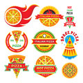 Pizza - vector badges set. Pizza - vector labels collection. Royalty Free Stock Photo
