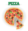 Pizza. Vector image of creative pizzas meats. Icon Italian pizza.