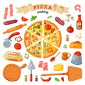 Pizza vector italian food with cheese and tomato in pizzeria or pizzahouse illustration set of baked pie from pizzaoven