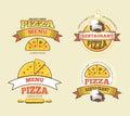 Pizza vector labels, logos, badges, emblems for fast food restaurant
