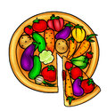 Pizza vegetables cartoon Stock Photo