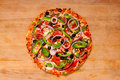 Pizza with vegetables and pepperoni Stock Image