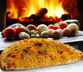 Pizza with vegetables roasted in the wood oven Royalty Free Stock Image