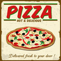 Pizza vintage poster grunge vector illustration Royalty Free Stock Photography