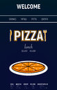 Pizza web site with menu line, fork and knife minimal sport style on blue background