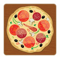 Pizza on wood plate color illustration Stock Photo