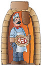 Pizzaiolo with pizza and wooden shovel the illustration depicts a at the door of a door to enjoy a piping hot fresh from the oven Royalty Free Stock Photo