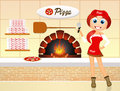 Pizzeria funny illustration of woman in Stock Image