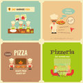Pizzeria meal in cafe and pizza making flat design mini posters set vector illustration Royalty Free Stock Photo
