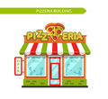Pizzeria shop building vector flat style illustration of signboard with slice of pizza in heart shape people eating and drinking Stock Image