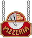 Pizzeria sign with metal chain wooden frame and text white plate a slice of pizza and silver cutlery hanging on a and Royalty Free Stock Images