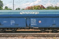 Pkp cargo wagon of the polish with copy space Stock Photo