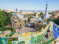 Plaça de la natura oval square right in the heart of park güell Stock Photography