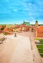 Plac zamkowy from top view castle square with royal zamok and column monument bell tower in warsaw poland Royalty Free Stock Photography