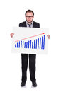 Placard with chart of profits businessman holding a Royalty Free Stock Photography