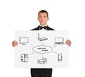 Placard with computer network scheme businessman in tuxedo holding Stock Photos