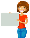 Placard girl smiling and holding a blank Stock Photos