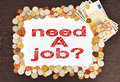 Placard with need a job and money Royalty Free Stock Photography