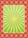 Placard template flyer with green rays over red royal lily pattern Royalty Free Stock Images