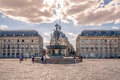 Place of Bourse in Bordeaux with fountain Three Graces - France Royalty Free Stock Photo