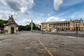 Place de la concorde on cloudy day in paris france Royalty Free Stock Photography