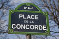 Place de la Concorde Street Sign Stock Photography