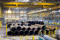 Place for finished products with big pipelines, an industrial plant Royalty Free Stock Photo