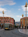 Place massena nice france with modern public tran possibly the main hub of the city of on the cote dazur is an important port and Royalty Free Stock Image