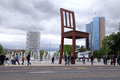 The place of nations and geneva switzerland may des fountains gigantic broken chair symbol fight against Stock Image
