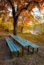 Place for picnic at autumn in park near river Stock Image
