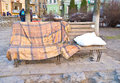 The place for rest kiev ukraine march playground on landscape alley made by konstantin skretutskiy with sculptural pillow and Stock Photography