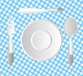 Plate Setting on a blue table cloth Royalty Free Stock Photo
