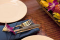 Place setting of a dinning set close up Royalty Free Stock Photo