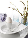 Place setting easter dinner white wooden table Royalty Free Stock Photography
