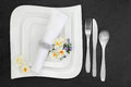 Place Setting with Flowers Royalty Free Stock Photo