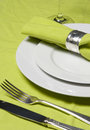 Place setting in green Royalty Free Stock Photo
